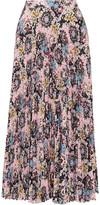 A.L.C. Williams Pleated Printed Satin Midi Skirt
