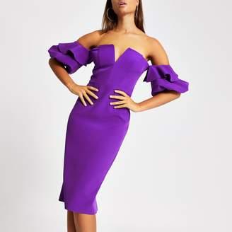 River Island Womens Purple bardot midi bodycon dress