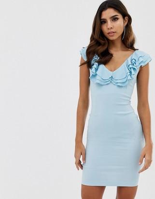 Vesper frill v detail bodycon dress-Blue