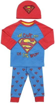 Fabric Flavours Superman Cotton T-shirt, Pants & Hat