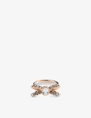 Ted Baker Sabasia crystal-bow brass ring