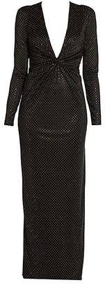 Versace Studded Jersey Plunging V-neck Gown