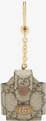 Gucci Ophidia Gg Supreme Headphone-case Key Ring - Grey Multi