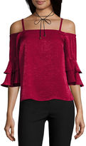 BY AND BY by&by Elbow Sleeve Boat Neck Satin Blouse-Juniors