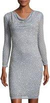 Marina Bead-Embellished Long-Sleeve Sheath Dress, Silver