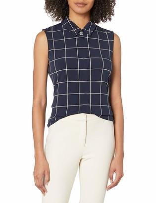 Tommy Hilfiger Women's Grid Print Collared Logo Zip Sleeveless Knit Top