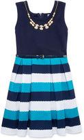 Knitworks Knit Works Sleeveless Stripe Belted Ottoman Skater Dress - Girls 7-16