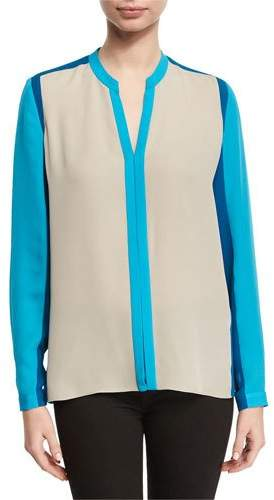 Elie Tahari Layne Long-Sleeve Colorblocked Silk Blouse