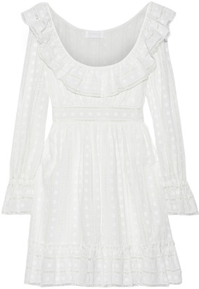 Zimmermann Ruffle-trimmed Embroidered Cotton Mini Dress