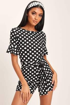 I SAW IT FIRST Black / White Polka Dot Tie Waist Frill Sleeve Playsuit