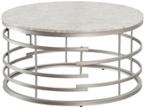 Jaxton Round Cocktail Table With Faux Marble Top, Silver
