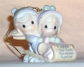 Precious Moments Our First Christmas Together 1999 Limited Edition Collectible Porcelain Ornament #587796 From Enesco Created By Sam Butcher