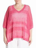Joan Vass Linen-Blend Mesh Knit Sweater