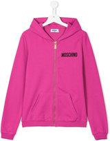 Moschino Kids - logo print hoodie - kids - Cotton/Spandex/Elastane - 14 yrs