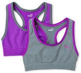 Puma Girls 7-16) Two-Pack Purple & Grey Seamless Sports Bras
