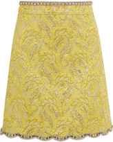 Gucci Embellished Metallic Brocade Mini Skirt - Yellow