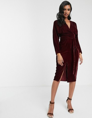 Asos Design DESIGN midi dress with batwing sleeve and wrap waist in velvet-Red