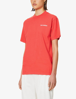 Sporty & Rich Drink More Water-print cotton-jersey T-shirt