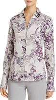 Foxcroft Lauren Floral Print Button Down Top