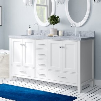 """Three Posts Erithon 61"""" Double Bathroom Vanity Set Base Finish: White"""