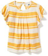 Old Navy Relaxed Ruffle-Sleeve Herringbone Top for Girls