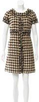Oscar de la Renta Houndstooth Patent Leather-Trimmed Dress