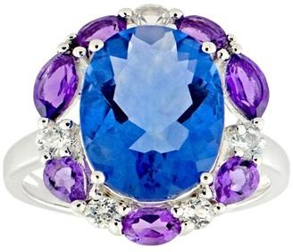 Sterling 8.00 cttw Fluorite w/ Multi-Gemstone Halo Ring