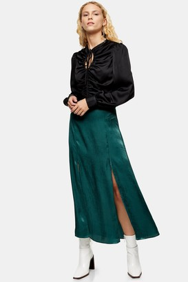 Topshop Emerald Green Satin Split Midi Skirt