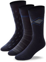 Black Brown 1826 3-Pack Fancy Combed Cotton Socks