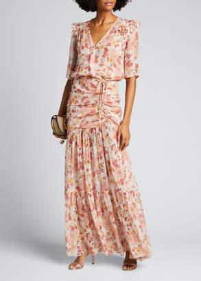 Veronica Beard Mick Ruched Floral-Print Long Dress