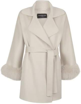 Harrods Fur Cuff Belted Coat
