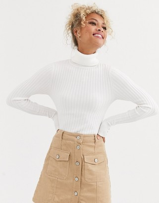 New Look roll neck sweater in cream