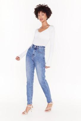 Nasty Gal Womens Keep Slit Quick High-Waisted Mom Jeans - Blue - 6, Blue
