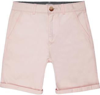 River Island Boys pink smart chino shorts