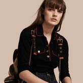 Burberry Fitted Polo Shirt with Regimental Piping