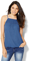 New York & Co. Pleated & Open-Stitch Halter Blouse