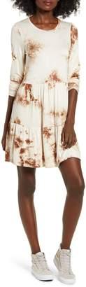 Love, Fire Tie Dye Long Sleeve Babydoll Dress