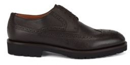 HUGO BOSS Italian Made Derby Shoes In Leather With Brogue Detailing - Black