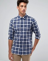 Jack Wills Poplin Shirt In Regular Fit In Check Navy/Blue