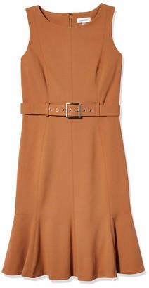 Calvin Klein Women's Petite Sleeveless Dress with Flounce Hem and Novelty Self Belt