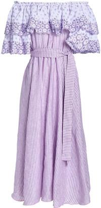 Gül Hürgel Off-the-shoulder Printed Broderie Anglaise Linen Midi Dress