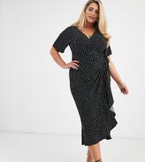 Asos DESIGN Curve Exclusive wrap midi dress in mono spot