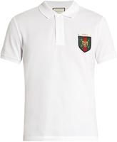 Gucci Tiger badge-appliqué cotton-blend polo shirt