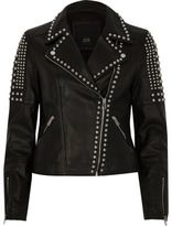 River Island Womens Black studded leather biker jacket
