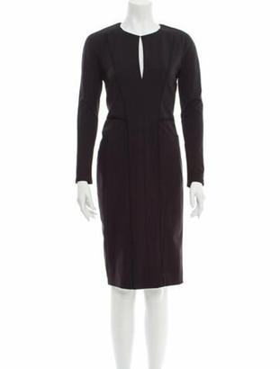 J. Mendel V-Neck Knee-Length Dress Black