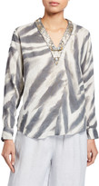 120% Lino Embellished V-Neck Long-Sleeve Zebra-Print Top