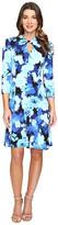 London Times Fleur Blur Twist Neck Fit & Flare Dress