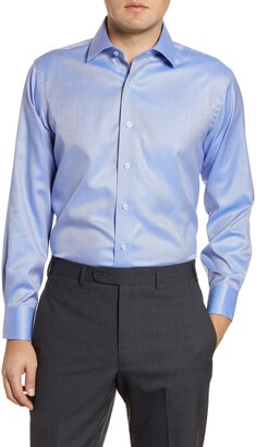 Lorenzo Uomo Trim Fit Non-Iron Herringbone Dress Shirt