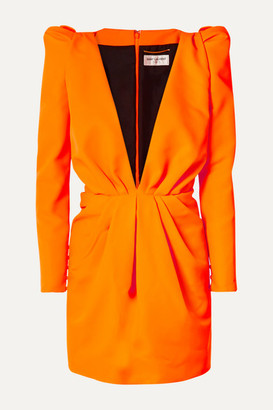 Saint Laurent Gathered Neon Twill Mini Dress - Orange