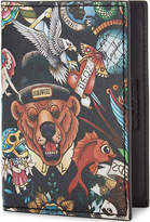 DSQUARED2 Bear tattoo print leather card holder
